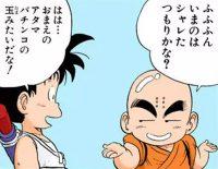Gokū se moque du crâne chauve de Kuririn