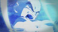Kuririn, repoussé par le Kamehameha de Gokū Super Saiyan Blue