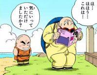 Kamé Sennin apprécie les magazines cochons que Kuririn lui a apporté