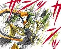 Cell retenu par l'attaque de Ten Shin Han