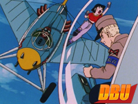Yellow à bord de son avion dans Dragon Ball GT