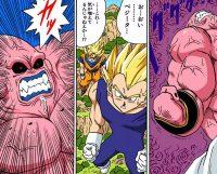 Gokū et Vegeta assistent à la transformation de Majin Boo en immense Boo