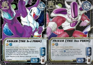 Les 3èmes formes de Coola et Freeza SELON le Collectible Card Game