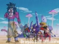 Pilaf et sa bande devant le château en ruine, dans Dragon Ball GT
