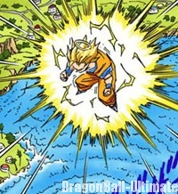La terre tremble lorsque Gokū se transforme en Super Saiyan 3