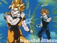 Gokū et Vegeta en simples Super Saiyans contre Majin Buu, dans l'anime