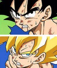 Les yeux de Gokū et de ses fils changent aussi en Super Saiyan