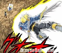 Trunks s'envolant à la rescousse de Vegeta