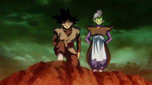 Gokū Black et Zamasu exécutant le plan 0 humain, dans le futur