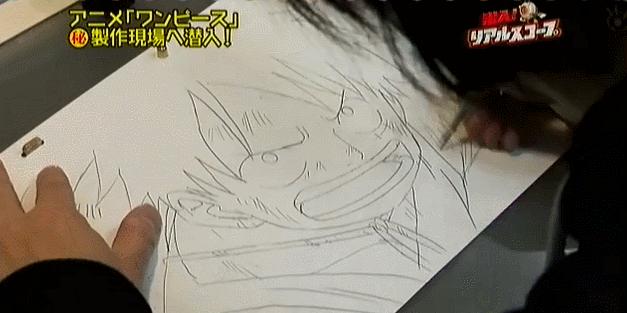 Hisada-san réalisant un douga de Luffy de l'animé One Piece