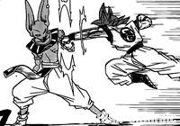 Beerus encaisse le coup de poing de Gokū