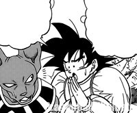 Gokū supplie Beerus d'accepter le tournoi