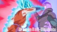 Hit, surpassé par Son Gokū en Super Saiyan Blue exécutant le Kaiōkenx10