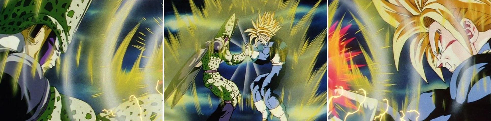 Le bras de fer entre Cell et Trunks, dessiné par Satō en tant qu'animateur clé sur l'épisode 164