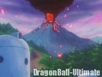 Le volcan en éruption dans DBGT