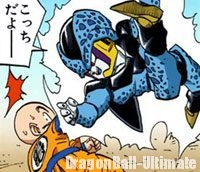 Un Cell Junior nargue Kuririn