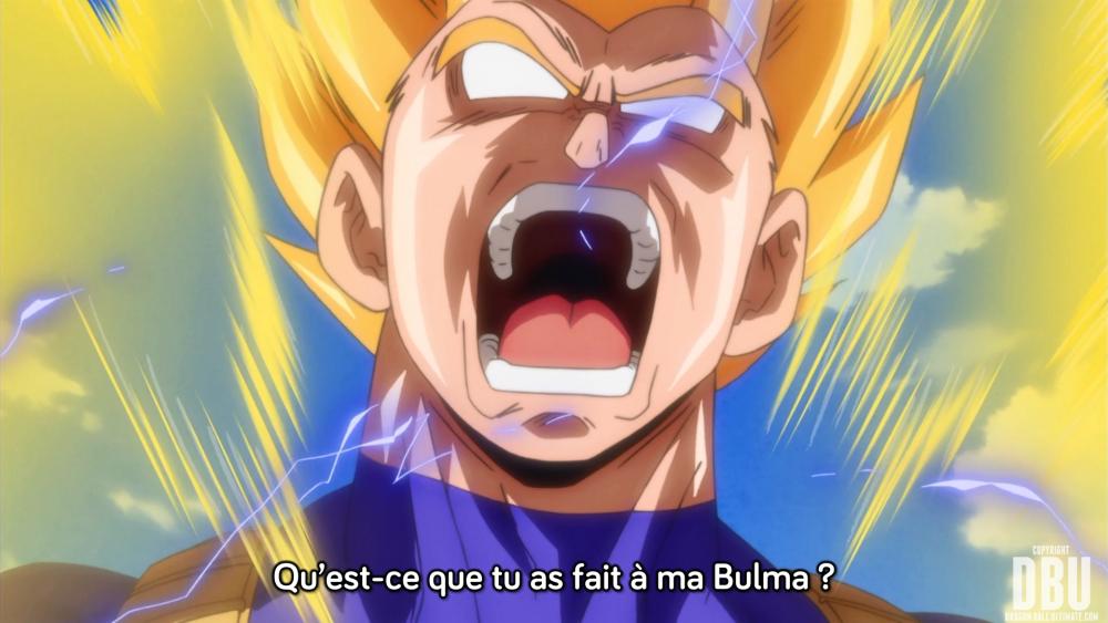 « Qu'est-ce que tu as fait à ma Bulma ? », scène qui boucle l'épisode 7 de Dragon Ball Super.
