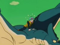 Bulma tombe sur un Ptéranodon, sur la planète Namek