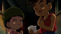 Haru etHaru et Maki mangent les biscuits que Yajirobé gardait pour lui