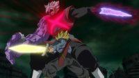 Zamasu fusionné est tranché par la lame de Ki de Trunks du futur