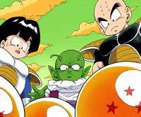 Gohan, Dendé et Kuririn face aux Dragon Balls de la planète Namek