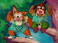 Jinku et Yordon, perchés dans un arbre