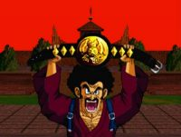 Mr. Satan brandit sa ceinture dans le jeu PlayStation, Ultimate Battle 22