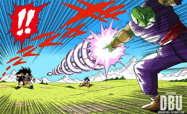 Piccolo utilise le Makankōsappō contre Raditz