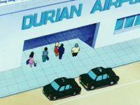 Les taxis, stationnés, dans l'anime