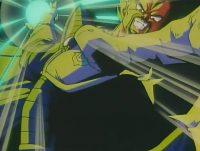Le roi Vegeta attaquant les Tsufurs