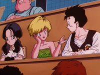 Gohan est assis à côté d'Erasa