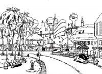 Settei du centre-ville de Satan City pour la série animée DBGT