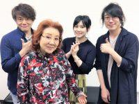 De gauche à droite : Takeshi Kusao (Trunks), Masako Nozawa (Gokū), Minami Tsuda (Kamin) et Yūta Kasuya (Oren)